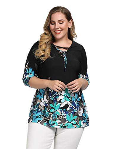 (Chicwe Women's Plus Size Stretch Floral Lace Up Deep V Neck Tunic Top with Drawstring 1X Black)