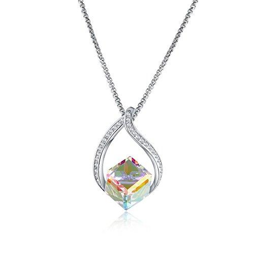 Mevecco Womens Girls Fashion Necklace Swarovski Crystal Change Color Dangle Pendant in The Gift Box-Aurore (Swarovski Crystal Dangle Necklace)