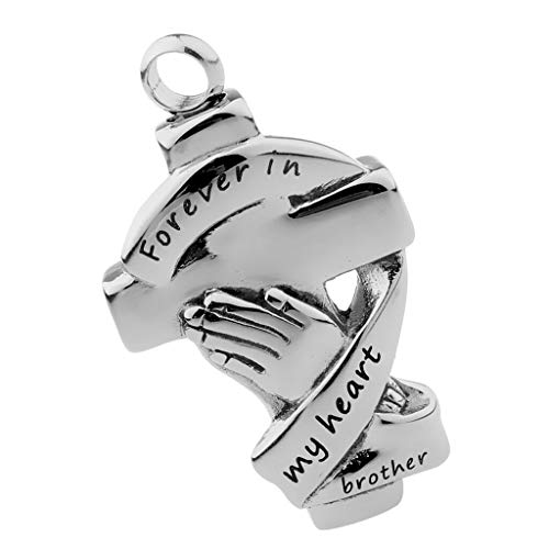 Stainless Pet Cremation Urn Keepsake Memorial DIY Hand Cross Charms Pendant Necklace Jewelry Crafting Key Chain Bracelet Pendants Accessories Best| Color - Brother