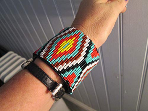diamond red yellow turquoise black Mayan aztec tribal geometric beaded bead work native american Indian style cuff bracelet Fair Trade Guatemala Southwest design hand made Ethnic