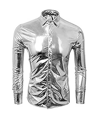 Silver Round Neck Blouse For Men