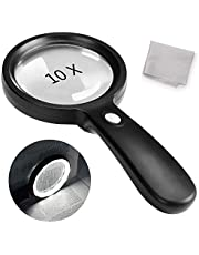 Magnifying Glass with Light, 10X Handheld Magnifying Glass 12 LED Illuminated Lighted Magnifier for Macular Degeneration, Seniors Reading, Soldering, Inspection, Coins, Jewelry, Exploring(Black)