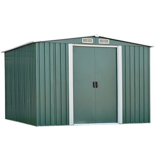 Ainfox10'X8′ Storage Shed with Foundation Kit, Outdoor Steel Toolsheds Storage Floor Frame Kit Utility Garden Backyard Lawn Warm Green (10'x8′ Storage Shed with Floor Base Kit)