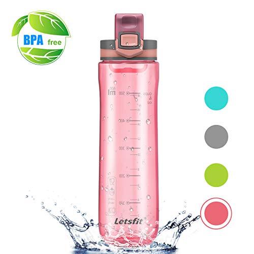 Letsfit Water Bottle, Sports Water Bottle, Tritan 100% BPA Free Non-Toxic Plastic Fast Flow, Flip Top Leak Proof Lid Dust Proof Cap Drinking Spout Outdoor Hiking Camping 21oz 600ml