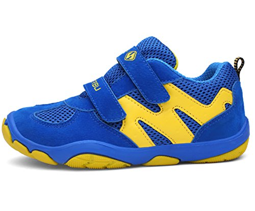 DADAWEN Kid's Breathable Outdoor Hiking Sneakers Strap Athletic Running Shoes Blue/Yellow US Size 13 M Little Kid by DADAWEN (Image #2)