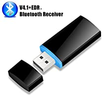 USB Bluetooth Receiver, Aigital Bluetooth 4.1 Wireless Audio Adapter Handsfree Car Kit for Home Car Music Stereo Speaker System Connect with iPhone iPad Samsung and More Powered by USB