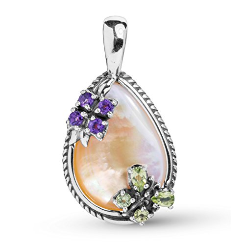 Carolyn Pollack Sterling Silver Gold Mother of Pearl, Purple Amethyst and Green Peridot Gemstone Butterfly Flower Pendant Enhancer