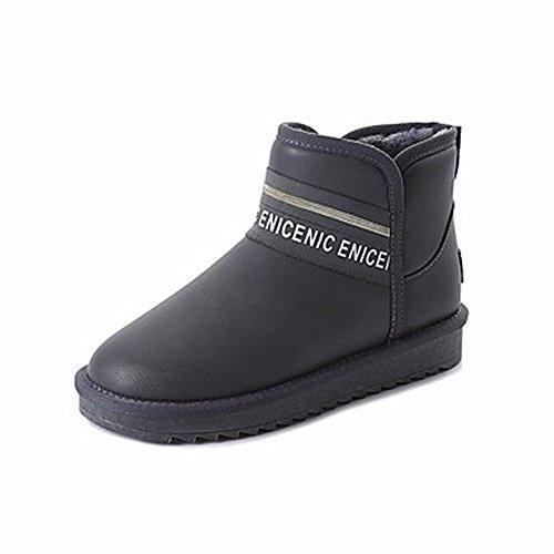 Neige Femmes Plat Gris Gris Rond pour Talon PU D'Hiver Bottes Noir Vert Us8 Uk6 Bottes pour Chaussures Cn39 Un ZHUDJ Eu39 Bout EgfwYY