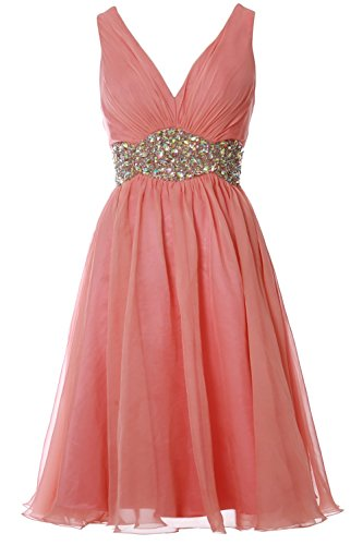 MACloth Women Straps V Neck Chiffon Short Prom Dress Wedding Cocktail Ball Gown Blush Pink