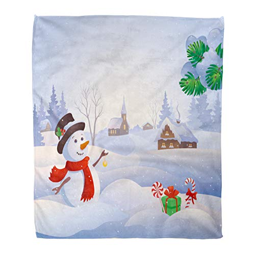 t Warm Cozy Print Flannel Blue Winter Cartoon of Cute Snowman at Snowy Village Snow Wonderland Landscape Comfortable Soft for Bed Sofa and Couch 50x60 Inches ()