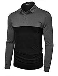 Men's Dry Fit Golf Polos Long Sleeve 2 Tone Moisture Wicking Casual Polo Shirt