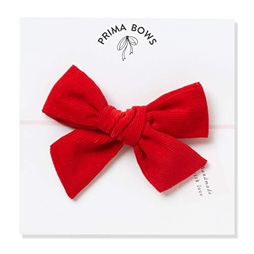 Handmade Red Corduroy Fabric Bows For Girls, For Newborns Through Toddlers (1 Size Fits All) - Prima Bows (Red, Alligator Clip) ()