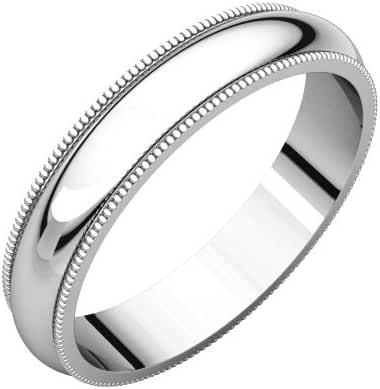 Platinum 4mm Milgrain Band, Ring Size 8