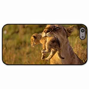 iPhone 5 5S Black Hardshell Case lioness cub grass Desin Images Protector Back Cover