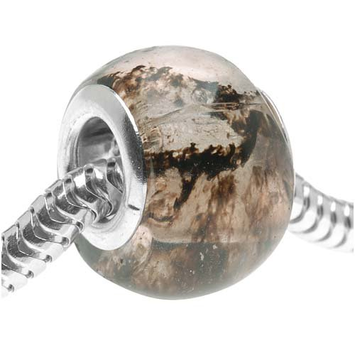 Glass European Style Large Hole Bead - Brown Moss Quartz 14mm (1) (14mm 1 Glass Bead)