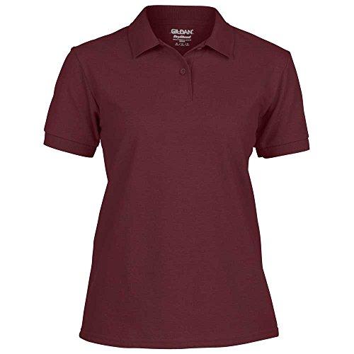 Gildan Short Sleeve Womens Dryblend Pique Cotton Polo Shirts Maroon