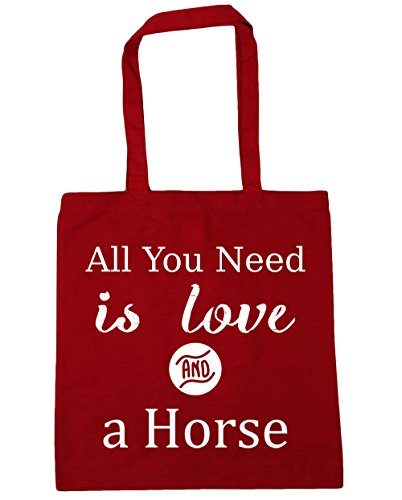 HippoWarehouse All You Need is Love and a Horse Tote Shopping Gym Beach Bag 42cm x38cm, 10 litres Classic Red