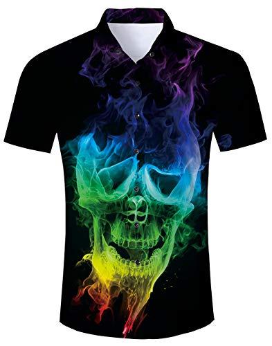 (Fanient Mens Summer Hawaiian Shirt 3D Skull Print Short Sleeve Funky Button Down Aloha Shirts XL)