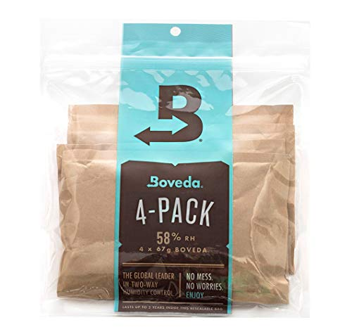 Boveda 58 Percent RH 2-Way Humidity Control for Herbal Medicine and Food, 67 Gram, 4-Pack (58%)