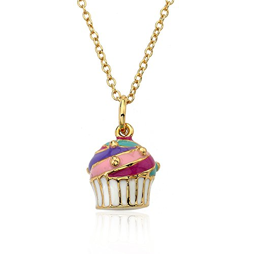 "Little Miss Twin Stars ""Candyland"" 14k Gold-Plated Enamel Cupcake Pendant Necklace"