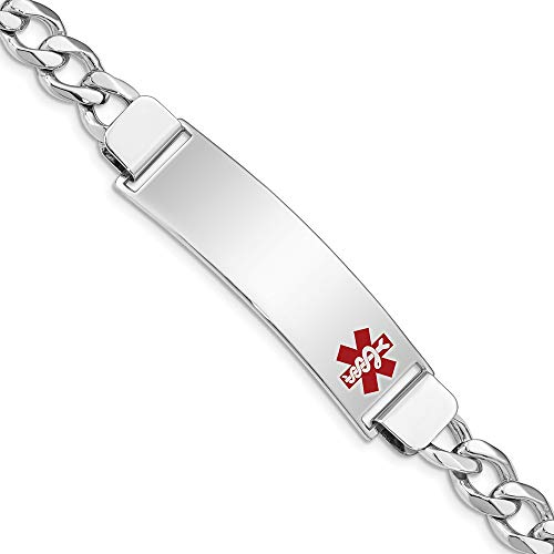 925 Sterling Silver Medical Alert Id Curb Link Bracelet 7 Inch Fine Jewelry Gifts For Women For Her