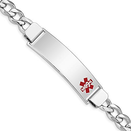 925 Sterling Silver Medical Alert Id Curb Link Bracelet 7 Inch Fine Jewelry Gifts For Women For - Bracelets Alert Designer Medical