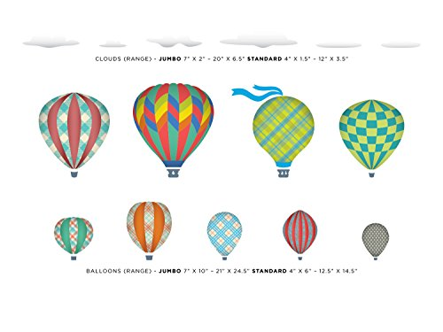 Sunny Decals Hot Air Balloons and Clouds Fabric Wall Decals (Set of 9), Jumbo, Rainbow by Sunny Decals (Image #1)