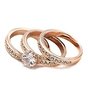 Women's Platinum Plated Stainless Steel Fashion Ring - 8 US