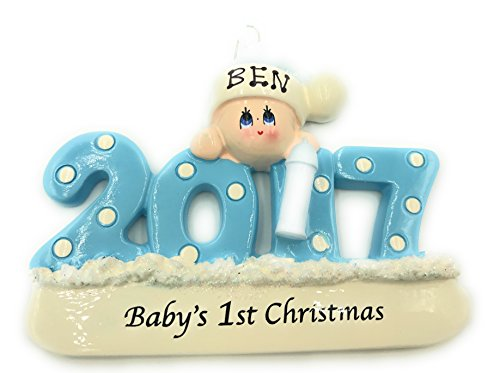 Personalized Baby's First Christmas Ornament 2017 - Blue/boy - Free Personalization … (Personalized Baby First Christmas Ornament)