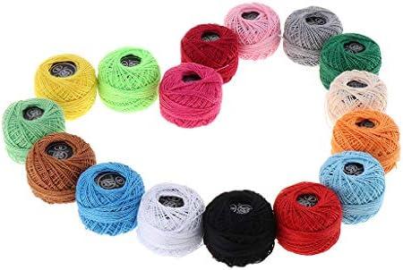 dailymall 16Xかぎ針編み糸セットボール綿虹色かぎ針編みクロスステッチニードルポイントスレッド用糸-子供、初心者、DIY愛好家に最適