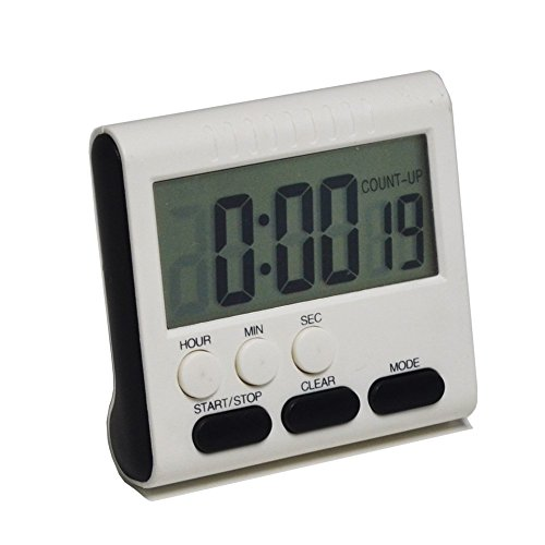 Gigibon Digital Kitchen Timer, Magnetic Countup/Countdown Timer Clock, with Loud Alarm & Belt Clip,for Cooking, Baking, Training, Meditation (White) (Clock Walk Alarm)