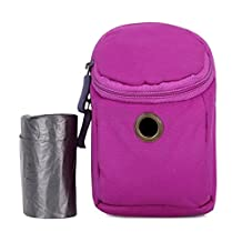 Dog Waste Bag Dispenser, Nylon Fabric and Zipper with Durable Metal Carabiner Clip (Purple)