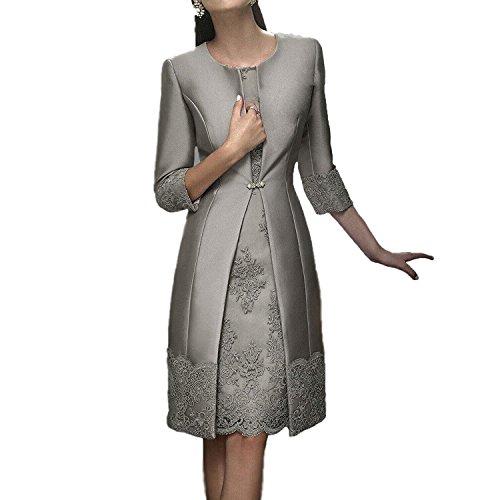 4 Crmonie Longueur Gris avec 3 Robe de Mre Manteau Manches 2PCS Genou pour Mariage Dressvip Femme IA4wvnx