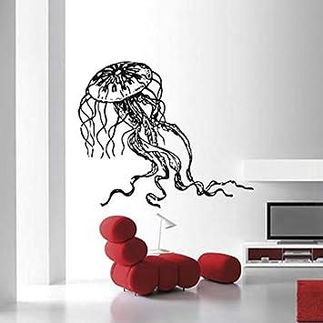 Modeganqingg Vida Marina decoración Marina Medusa Etiqueta de la Pared Vinilo decoración del hogar Sala de baño calcomanía Mural Interior 75cmX63cm: Amazon.es: Hogar
