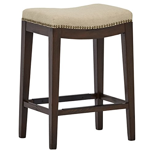 Stone & Beam Elden Nailhead Saddle Kitchen Counter Backless Bar Stool, 26 Inch Height, Hemp Beige, Wood