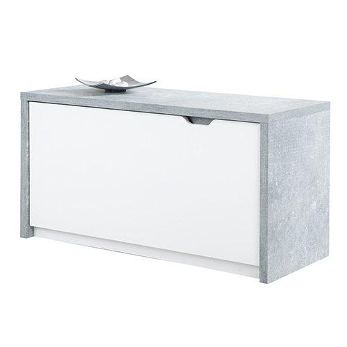 Phoenix Bruno Sitzbank mit 1 Klapptüre, Holz, Beton, Weiss, 36 x 90 x 46.7 cm
