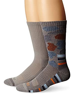Men's 2 Pack Camo Stripe Performance Crew Socks