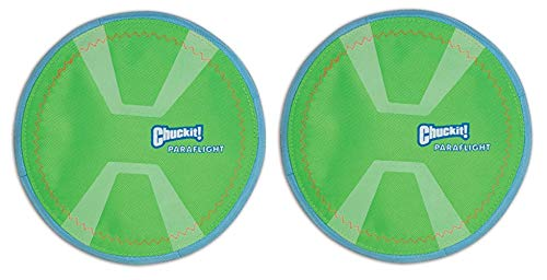 Chuckit! 2 Pack of Max Glow Paraflight Dog Toy, Large 9.75-Inch