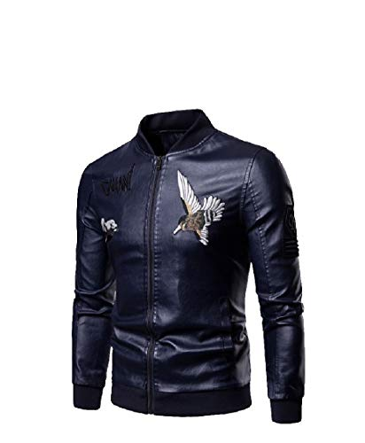 Collar Dark Jacket Pu Zips Embroidery with Up Blue Energy Men's Leather Casual Stand qvwqIPS