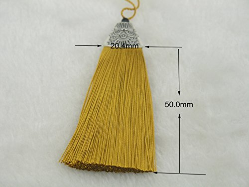 10pcs Old Gold Silky Handmade (2.2'') Soft Fiber Tassels with Antique Silver Cap (Fiber Tassel Pack)
