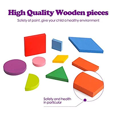Wooden Pattern Blocks Tangram Shape Puzzle Wood Anima Color Sorting Stacking Fine Motor Skill Jigsaw Preschool Montessori Brain Teaser STEM Gift for 3 4 5 Years Old Toddler Kid: Toys & Games