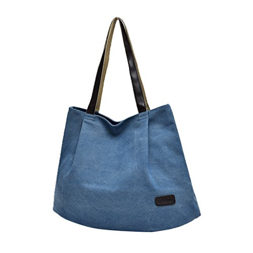 Handbag Shoulder Casual Totes Everyday Blue Canvas Bags Zipper Baoblaze Purses Women's Hobo HqFRBWS