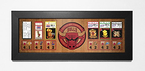Chicago Bulls 6-Time NBA Champions Tickets to History Framed Print by That's My Ticket