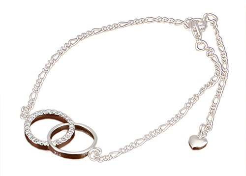 Efloral Women's Crystal Chain Anklet Bracelet, Dual Ring Butterfly Star Cross Wing Shaped for (Homemade Wings For Costume)