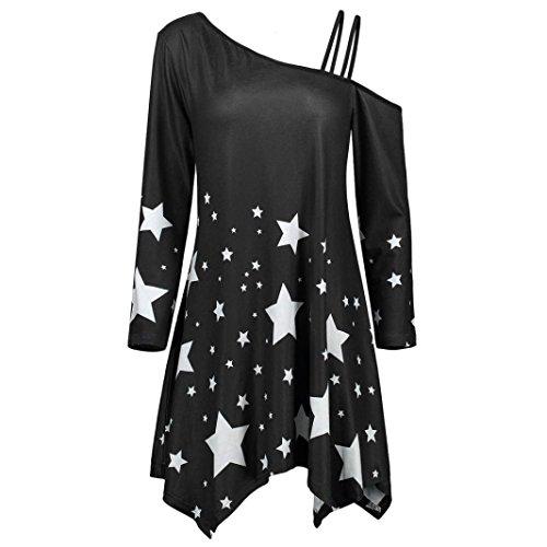 Big Promotion! Wintialy Fashion Womens Girls Strapless Star Print Casual Pullover Skew Collar Mini Dress (Mini Skirt Star Big)