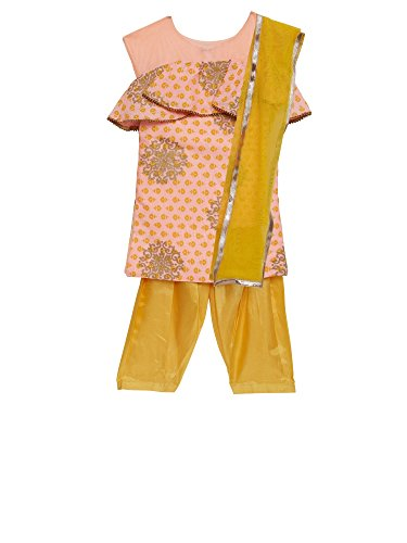 K&U Girls' Peach & Yellow Silk Indian Salwar Kurta Dupatta