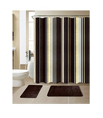 All American Collection 15-Piece Bathroom Set With 2 Memory Foam Bath Mats and Matching Shower Curtain | Designer Patterns and Colors ()