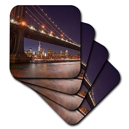 3dRose Danita Delimont - New York City - Manhattan Bridge and skyline from Brooklyn Bridge Park, New York City. - set of 8 Ceramic Tile Coasters (cst_314953_4)