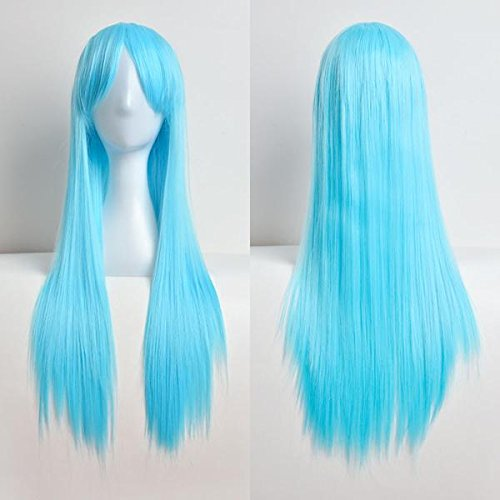 Fenleo❤️Unisex 80cm General Anime Cosplay Costume Party Halloween Natural Full Wig Long Straight ()