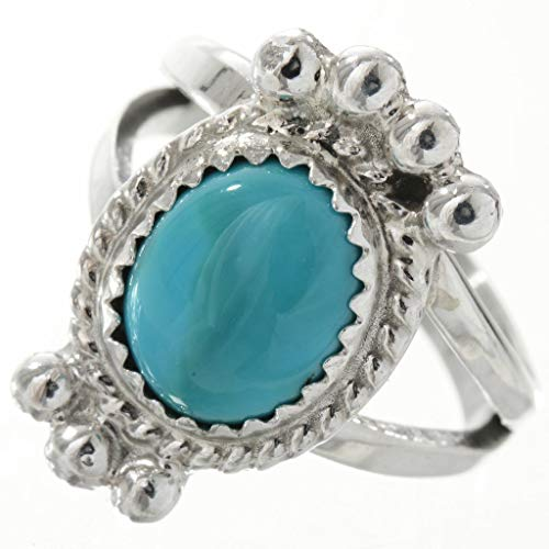 - Ladies Natural Kingman Turquoise Ring with Drops Navajo Silver Jewelry 0011
